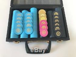 300 pc. Paulson Starburst Top Hat & Cane clay poker chip set, faux leather case
