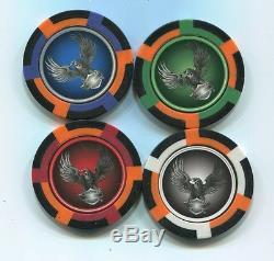 4 pc 4 colors HARLEY DAVIDSON EAGLES poker chip sample set #186