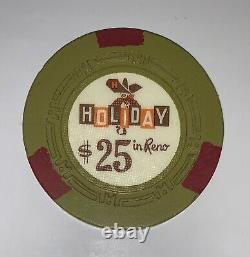 400 HOLIDAY IN RENO Casino Chips Rare Set H-mold $5s and $25s Poker, Clay