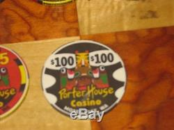 400 Poker Chip Set Porter House Casino, Moses Lake, WA. New Chipco Chips Rare