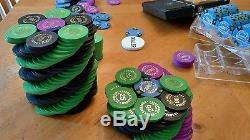 400 REAL CLAY POKER CHIPS BCC BLUE CHIP CO GRAND CARD ROOM SET plus one paulson