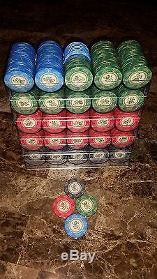 494 VINTAGE CHIPCO LION TOURNAMENT CERAMIC POKER CHIPS SET With RACKS CASINO STYLE