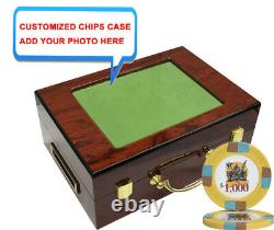500 14g Knights Poker Chips Set High Gloss Personalized Wood Case