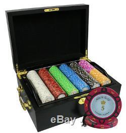 500 14g Monte Carlo Poker Room Poker Chips Set Mahogany Case