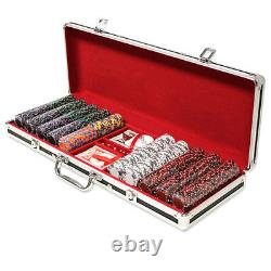 500 Ace King Suited 14g Clay Poker Chips Set with Black Aluminum Case Pick Chips