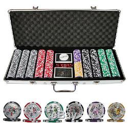 500 Ben Franklin Casino Table Poker Chips Set with Cards