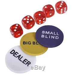 500 Chips Poker Dice Chip Set Texas Hold'em Cards with Aluminum Case New