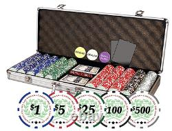 500 Chips Poker Dice Chip Set Texas Holdem Cards With Aluminum Case New