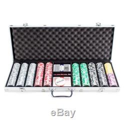 500 Clay Poker Chip Set Aluminum Case Professional Texas Hold'em Cards Blinds