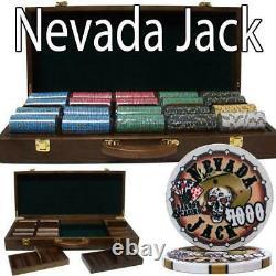 500 Ct Nevada Jack 10 Gram Ceramic Poker Chip Set With Walnut Wooden Case Csnj-500