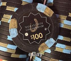 500 Horseshoe Cincinnati Casino Chips PAULSON Clay TOP HAT CANE Cash Set