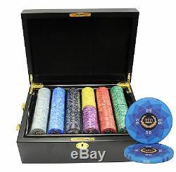 500 Laurel Crown Ceramic Poker Chips Set Mahogany Case Custom Build