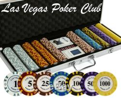 500 PC Las Vegas Poker Club 14 Gram CLAY Poker Chip Set with Case & Real Cards