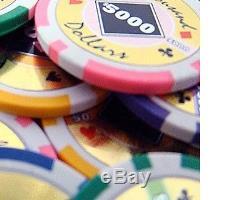 500 Piece Black Diamond 14 Gram Clay Poker Chip Set with Aluminum Case (Custom)