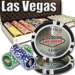 500 Piece Las Vegas 14 Gram Clay Poker Chip Set with Aluminum Case (Custom) New