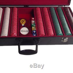 500 Poker Chip Set And Case 100% Clay Vintage Casino Table Pokers Play Credit