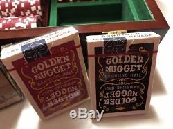 500 Poker Chip Set With 2 Decks Of Sealed Vintage Golden Nugget Cards