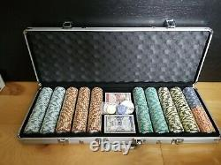 500 ct. Monte Carlo Poker Club Poker Chip Set in Aluminum Metal Carry Case
