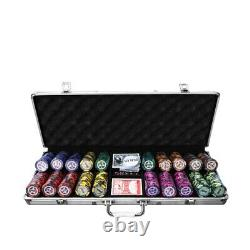 500PCS Chips Poker Dice Chip Set Texas Blackjack Cards Game with Aluminum Case