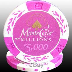 500ct 14G MONTE CARLO MILLIONS CLAY POKER CHIPS SET