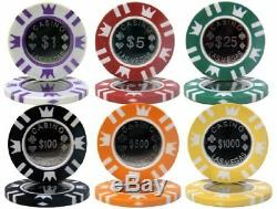 500ct. Coin Inlay 14g Poker Chip Set in Aluminum Metal Carry Case
