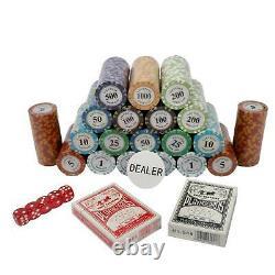 500ct. Las Vegas Poker Club Poker Set 14g Clay Composite Chips withAluminum Case