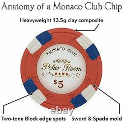 500ct. Monaco Club 13.5g Poker Chip Set in Hi-Gloss Wooden Carry Case