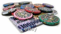 500ct. Nevada Jack Ceramic 10g Poker Chip Set in Black Mahogany Wood Case