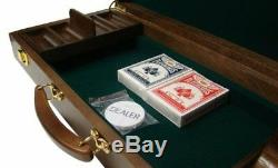 500ct. Striped Dice 11.5kg Poker Chip Set in Walnut Wood Carry Case