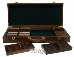 500ct. Ultimate 14g Poker Chip Set in Walnut Wood Carry Case