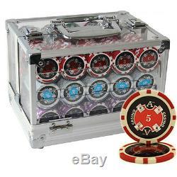 600 14g Ace Casino Clay Poker Chips Set Acrylic Case Custom Build
