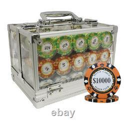 600 14g Monte Carlo Poker Club Clay Poker Chips Set Acrylic Case Custom Build