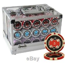 600ct 14G ACE CASINO TABLE CLAY POKER CHIPS SET ACRYLIC CASE