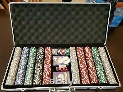 700 Pc Cardinal Poker Chip Playing Card Dice Set In A Slim Locking Metal Case NM