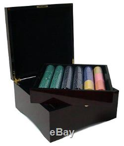 750 Ct Suited Four Suits 11.5g Poker Chips Set Cards, Dice, Mahogany Wood Case