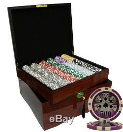 750 High Roller Casino Poker Chips Set High Gloss Wood Case Custom Build
