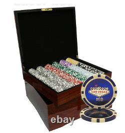 750 Las Vegas Casino Poker Chips Set High Gloss Wood Case Custom Build