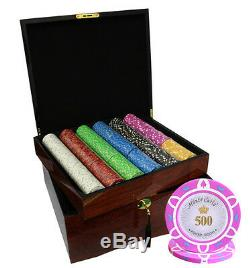 750 Monte Carlo Poker Room Poker Chips Set High Gloss Wood Case