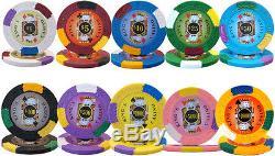 750 ct Kings Casino 14g Poker Chips Set with Case, 2 Decks, 5 Dice, Dealer Button