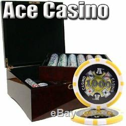 750ct. Ace Casino 14g Poker Chip Set in Hi-Gloss Mahogany Wood Carry Case