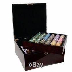 750ct. King's Casino 14g Poker Chip Set in Hi-Gloss Mahogany Wood Carry Case