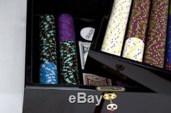 750ct. The Mint Clay Composite 13.5g Poker Chip Set, Hi-Gloss Mahogany Wood Case