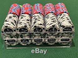 800 Royals 43mm Poker Chips Cash Set + 43mm Racks + Dealer Button