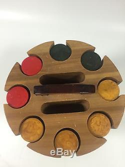 Antique Bakelite Poker Chip Set Red, Butterscotch, Green