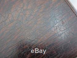 ANTIQUE POKER SET Clay Composite Chips Wood CARRIER BOX HOLDER Vtg