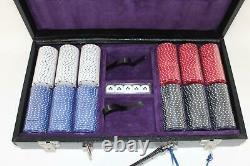 ASPINAL OF LONDON Black Lizard Suede Leather Case With 300 Chip Poker Set