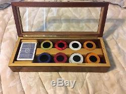 Agresti Briarwood Burl Poker Chip Game Set Glass Top Case Box