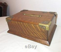 Antique 1800's wood brass Victorian poker chip gambling game gaming set holder