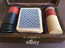 Antique 1895 Bicycle 808 Expert Back Playing Cards Poker Chip Set Old Gambling