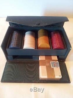 Antique 1919 Rare Poker Set with sealed IR Tax Stamp Cards-Clay Chips & Case